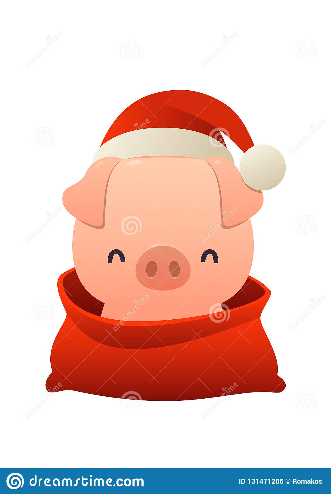 5fcab5a58b75b Royalty-Free Vector. Cartoon cute pig in Santa Claus hat and red bag with  isolated Merry Christmas and Happy