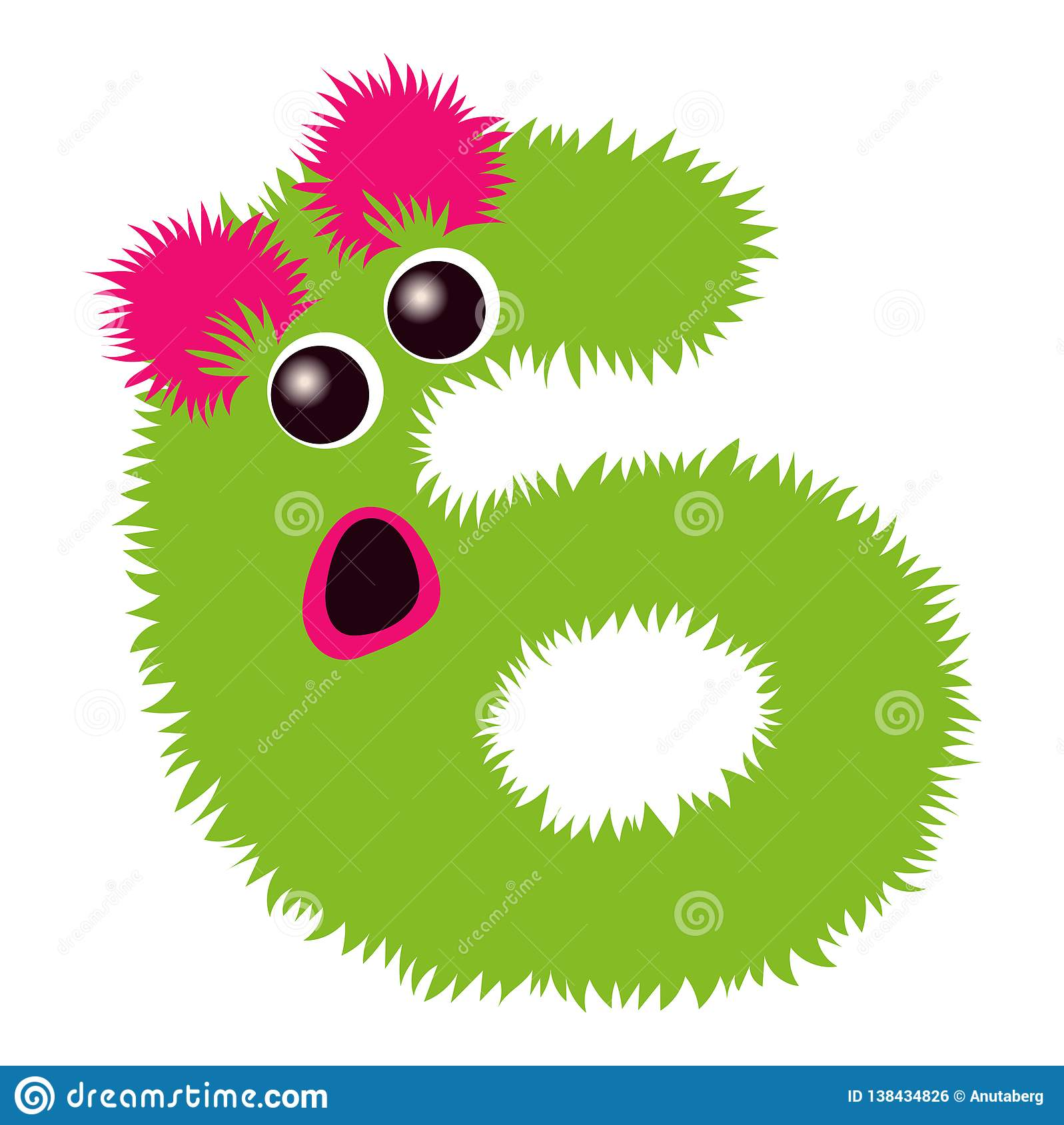 Cartoon Cute Pinc And Green Monster Number Six Stock Vector Illustration Of Cartoon Graphic 138434826
