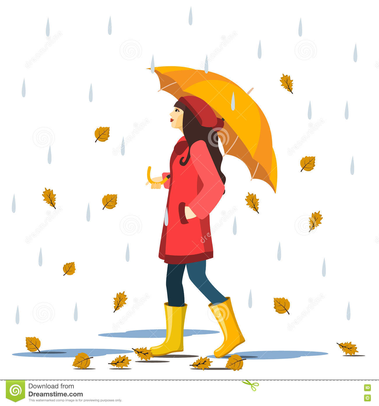 cartoon cute smiling in red coat and boots with automn