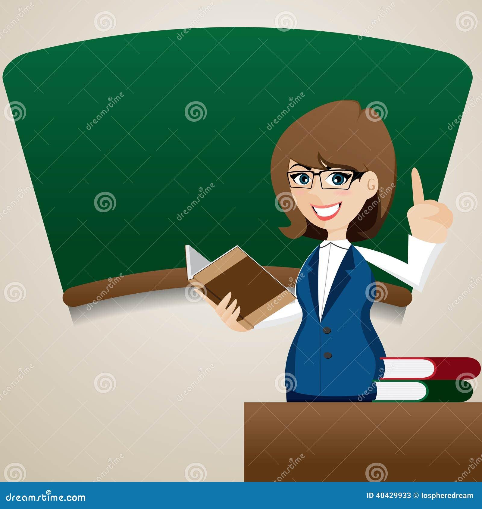 Cartoon Cute Teacher Teaching At Blackboard Stock Vector