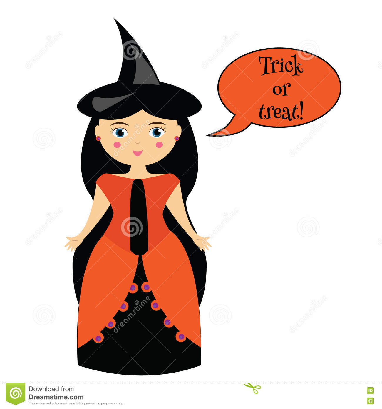 cartoon cute witch character in dress and hat girl in