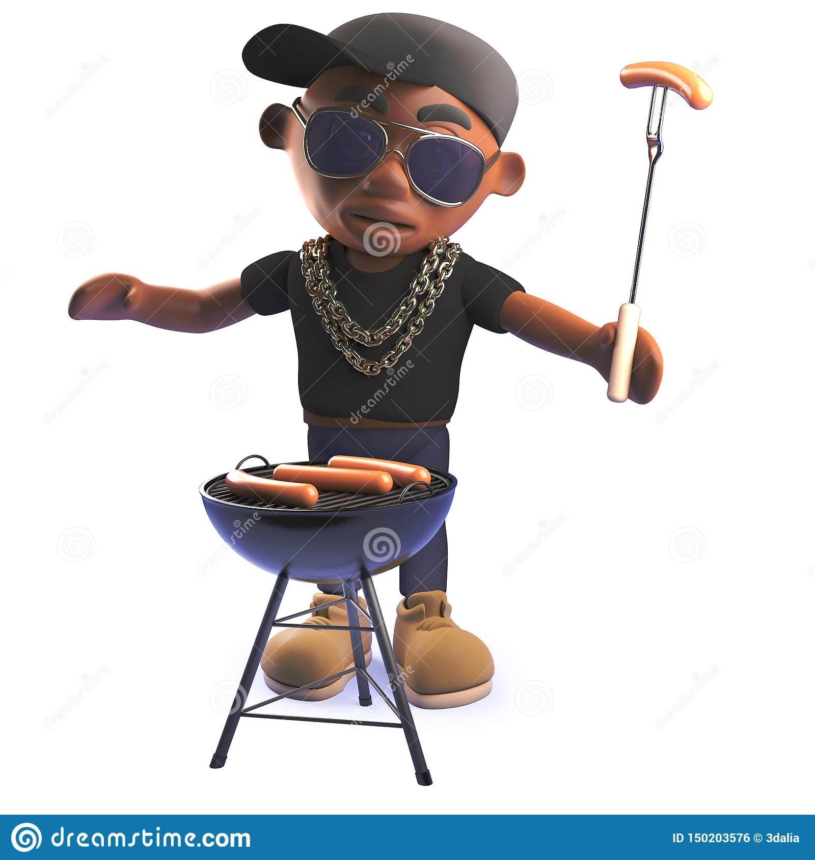 Cartoon 3d African American hiphop rapper cooking a bbq barbecue