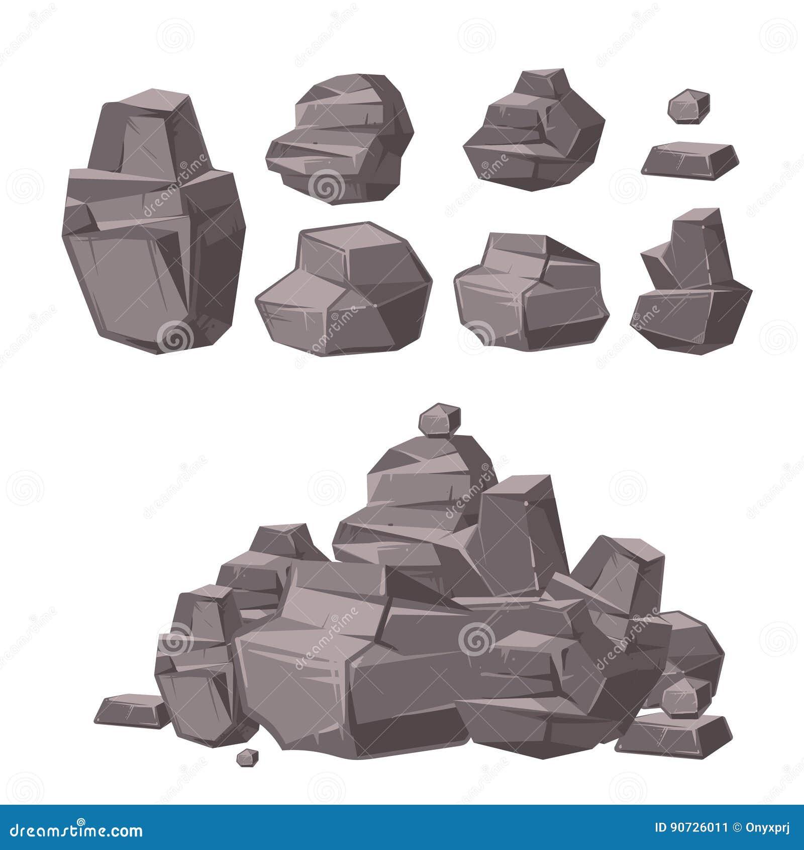 Cartoon 3d rock, granite stones, stack of boulders vector set, architecture elements for landscaping design