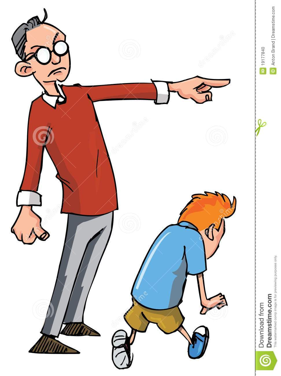 More similar stock images of ` Cartoon of Dad scolding his son `