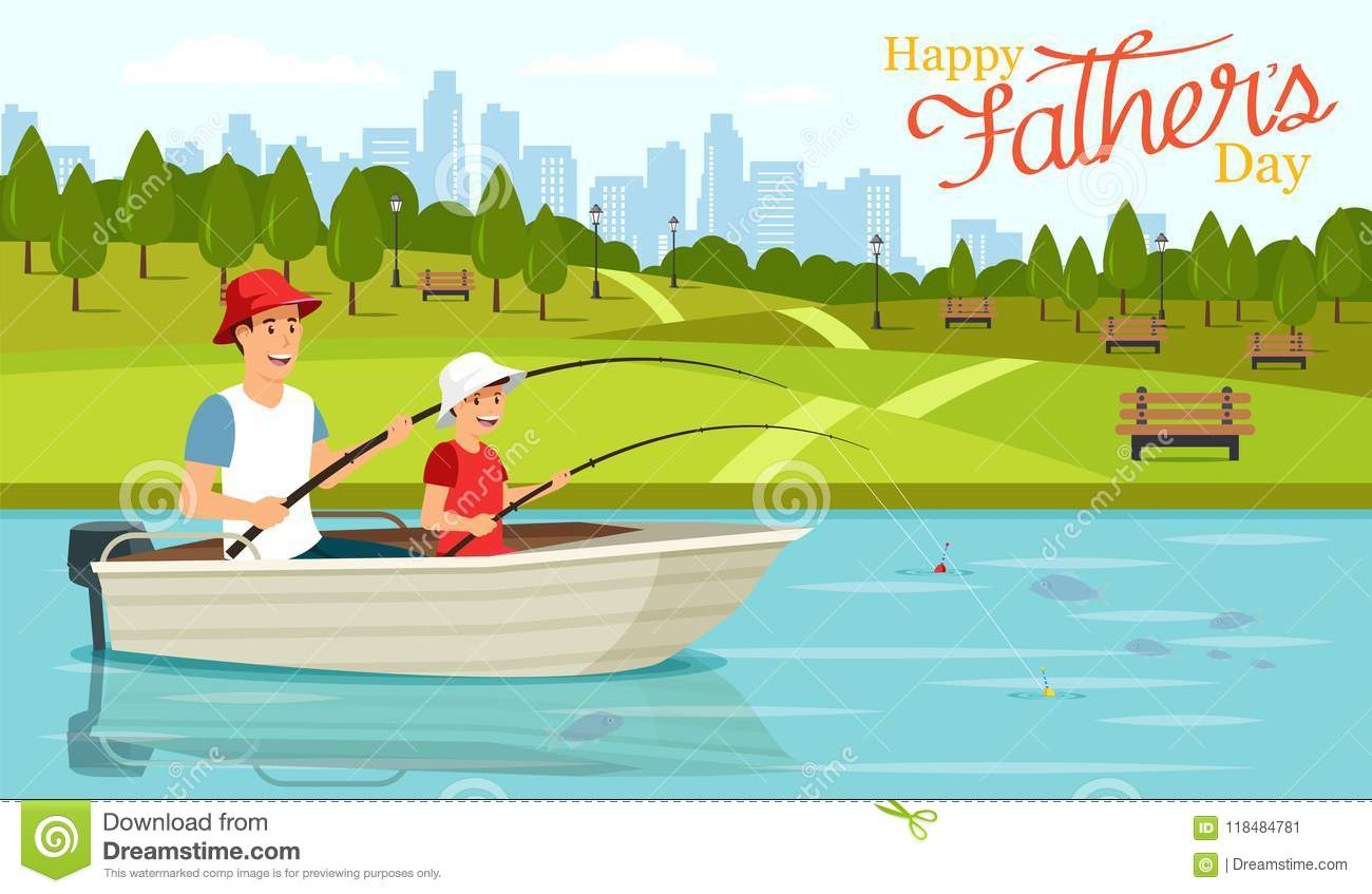 Cartoon Dad And Son Sitting In Boat And Fishing Stock ...