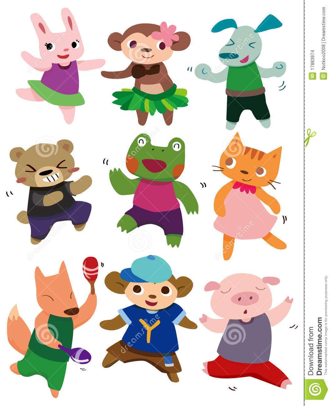 Cartoon Dancing Animal Stock Images Image 17883974