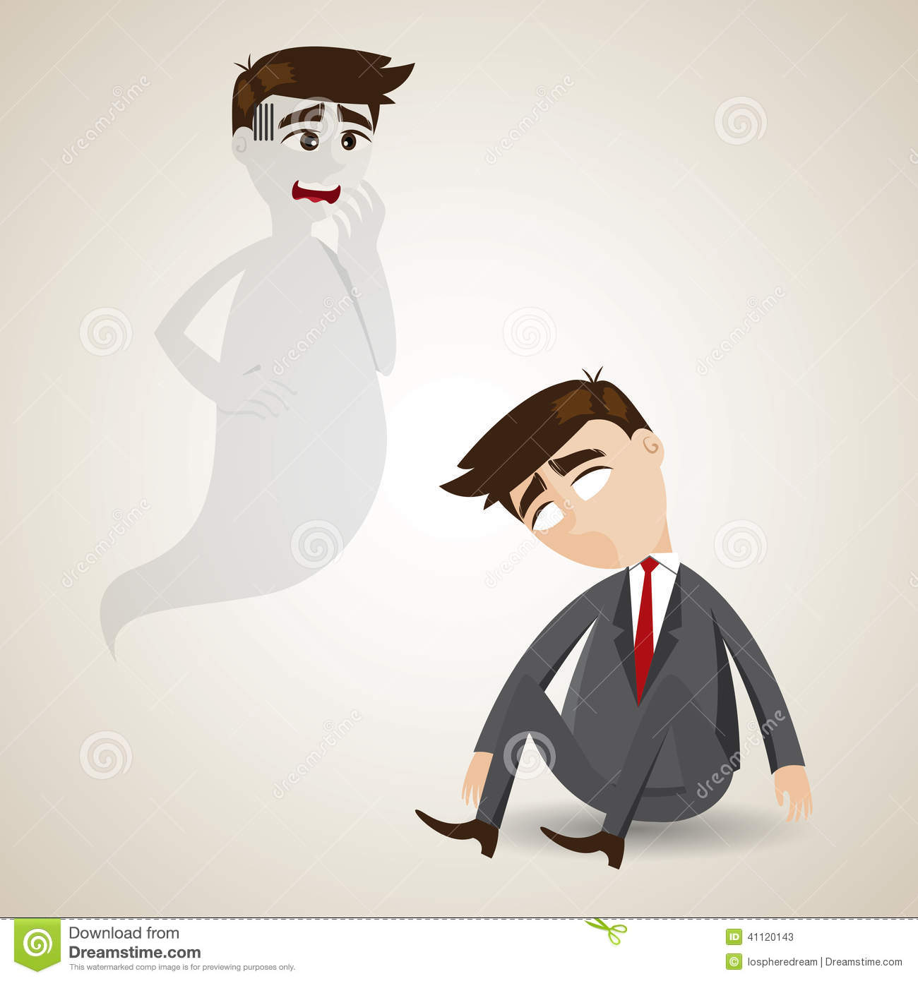 Cartoon Dead Businessman And His Soul Stock Vector Image