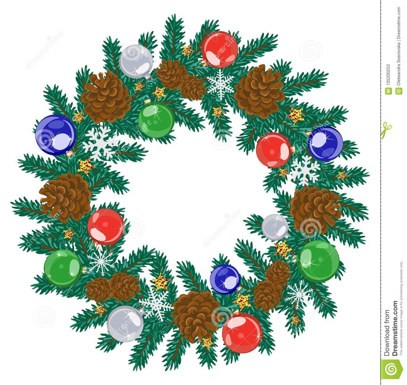 Cartoon Decorated Christmas Wreath On White Background Vector