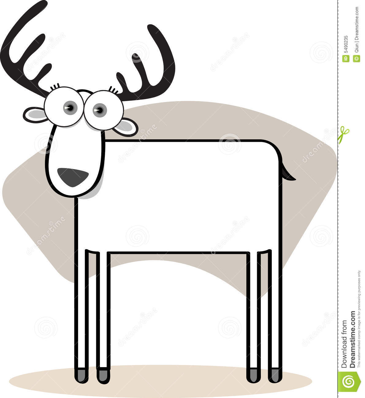 Cartoon Deer In Black And Whit Royalty Free Stock Photo - Image ...