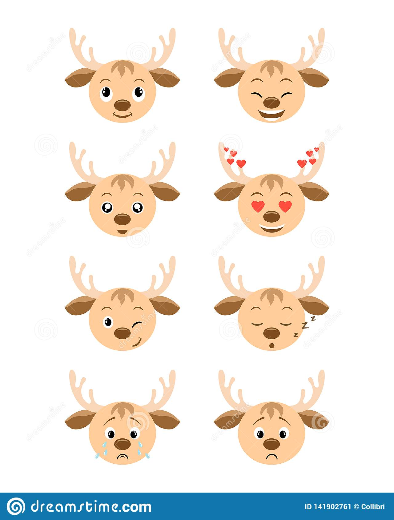 Cartoon deer emotions set. Smiling, bored, enamored, sleepy, sad, crying and other deer`s emotions collection.