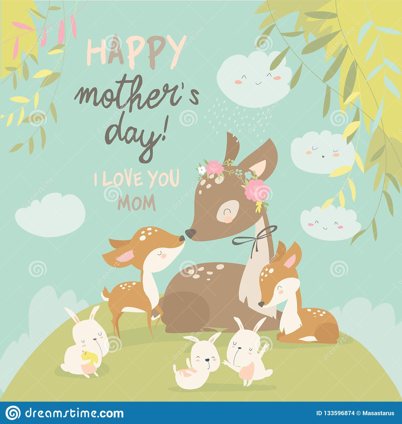 Cartoon Deer Family Mother And Baby Cute Animals For Mothers Day Animals Mom And Baby Stock Vector Illustration Of Mother Parent 133596874