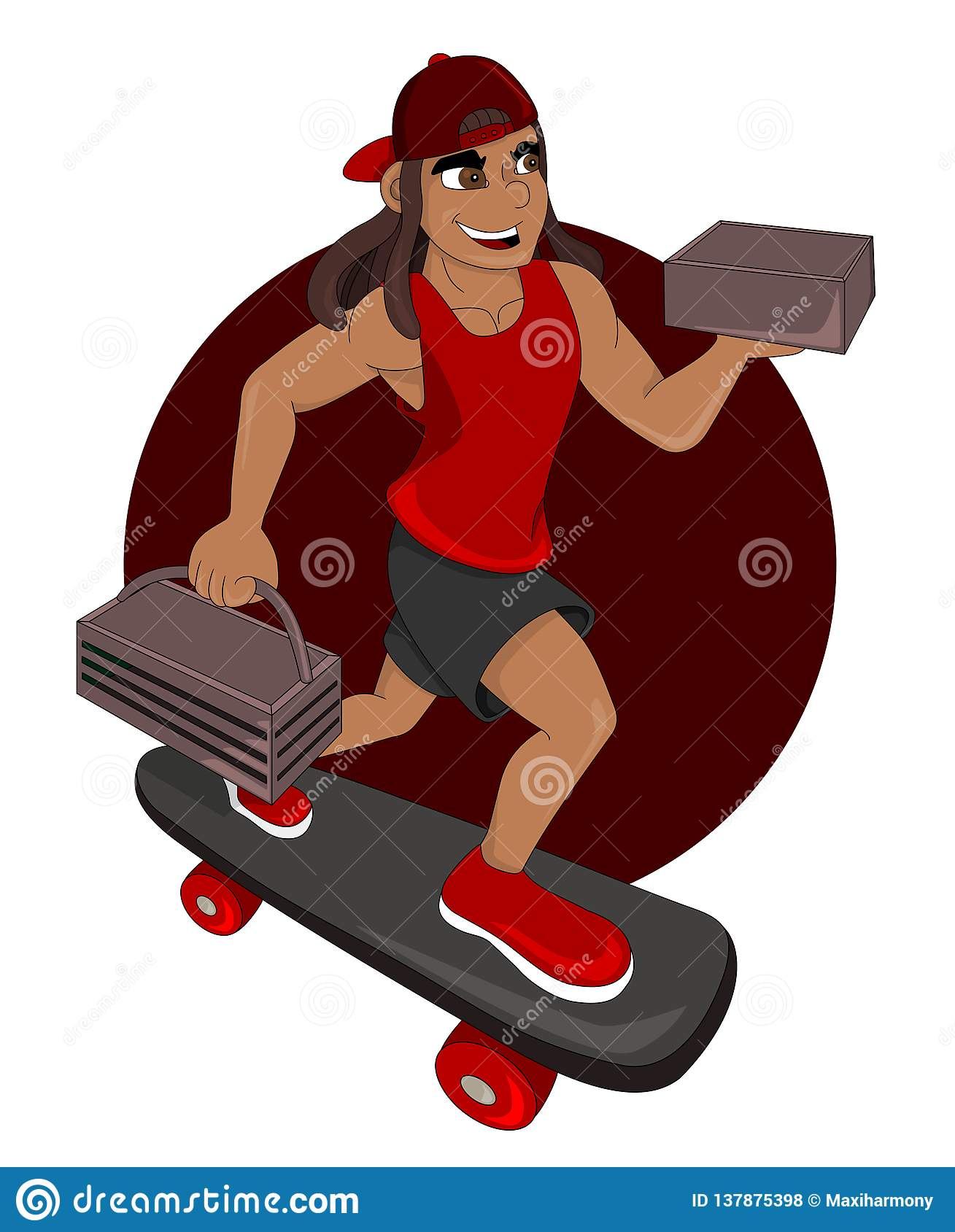 Cartoon of a delivery man riding a skateboard
