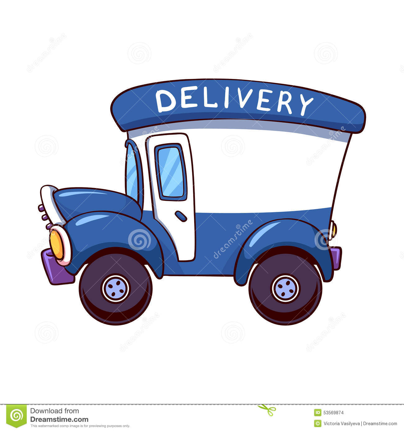 Cartoon Delivery Truck Stock Vector - Image: 53569874