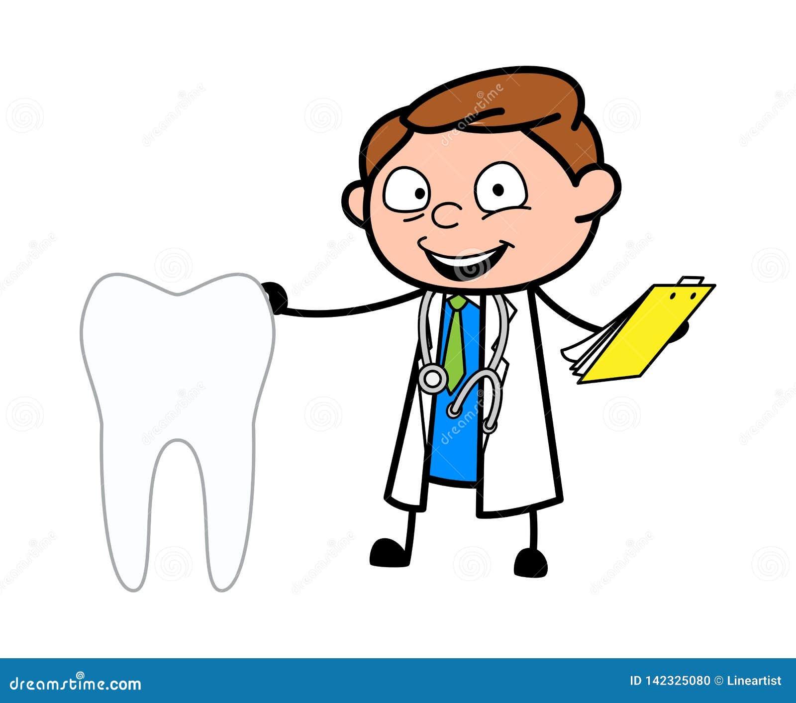 Cartoon Dentist Doctor With Tooth Vector Stock Illustration Illustration Of Physician Dental 142325080