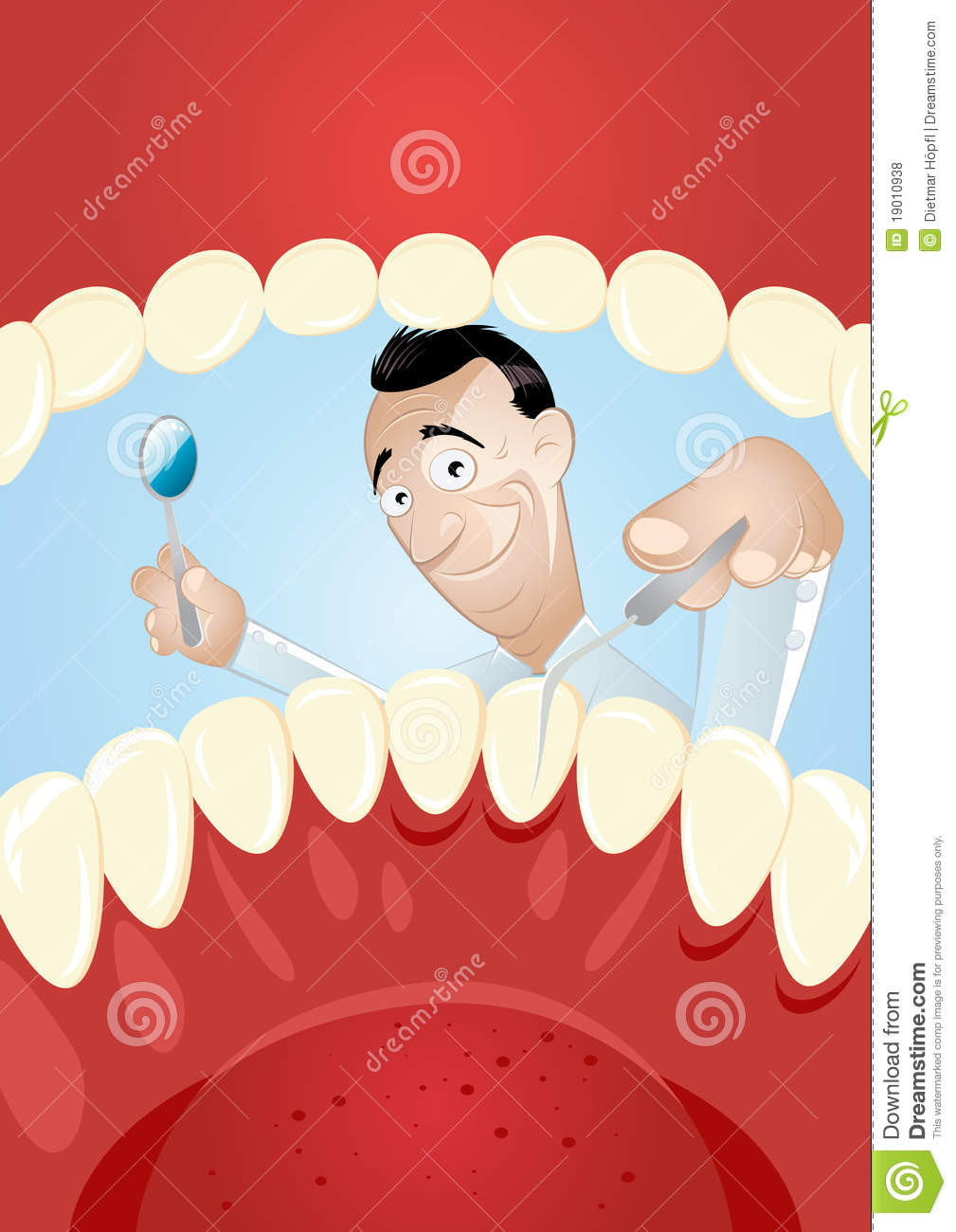 Cartoon dentist inside mouth royalty free stock photos for Interieur bouche