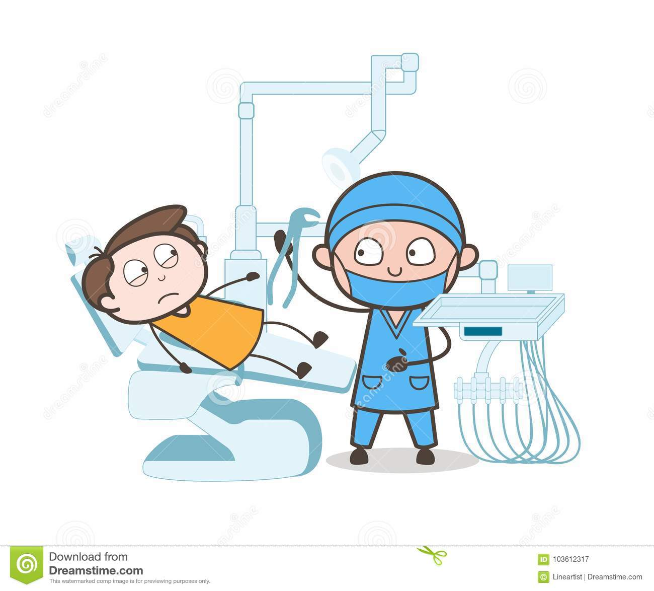 Cartoon Dentist With Patient Tooth Extraction Process Vector Concept Stock Illustration Illustration Of Extraction Orthopedic 103612317