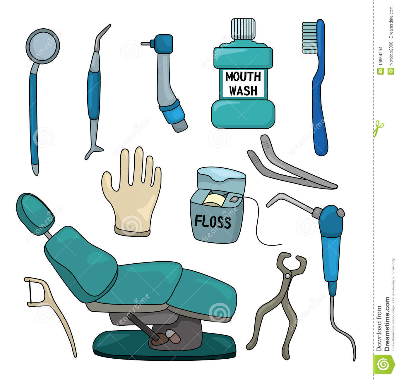 Cartoon Dentist Tool Icon Set Stock Images - Image: 19864294