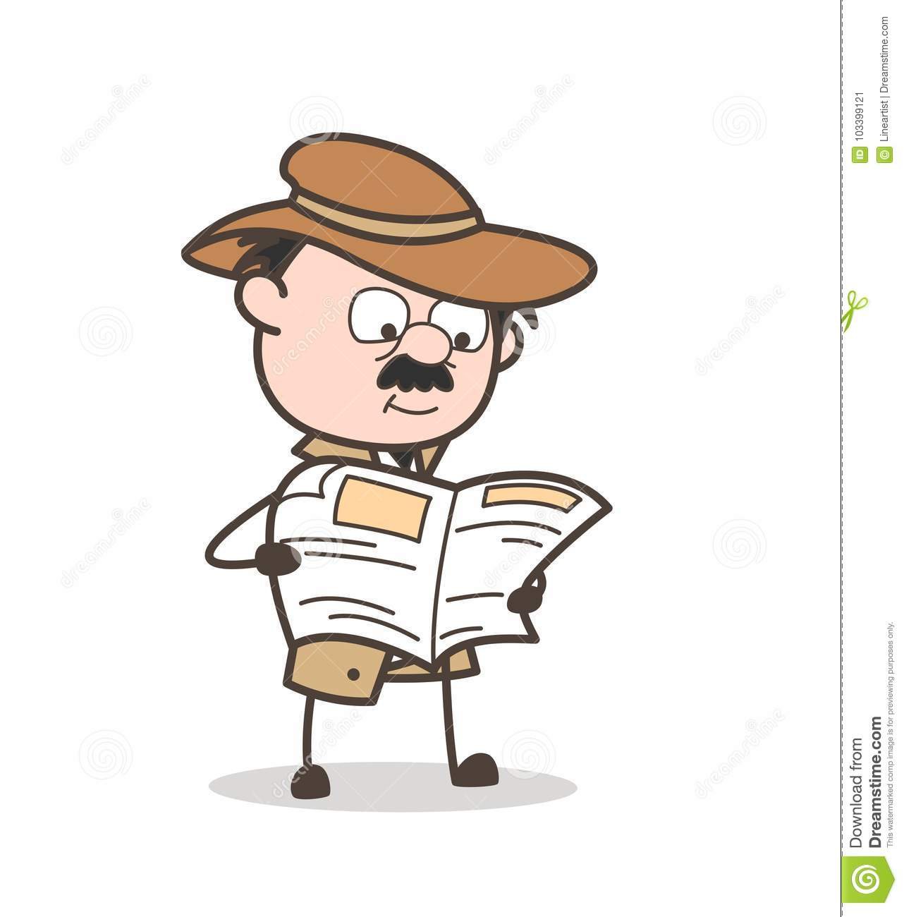 Cartoon Detective Reading Newspaper Vector Illustration