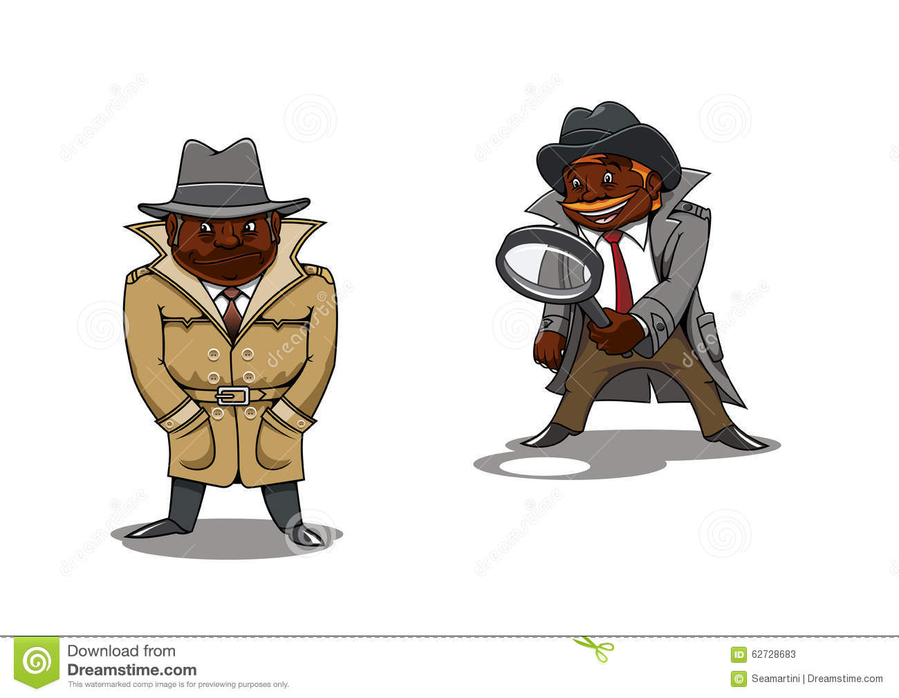 I Spy Cartoon Characters : Cartoon detective and spy with magnifier stock vector