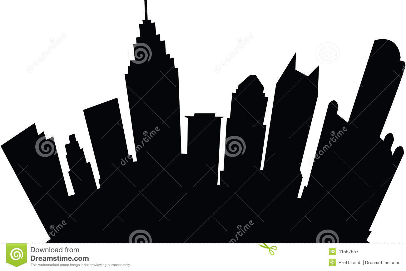 Cartoon skyline silhouette of the city of Detroit, Michigan, USA.