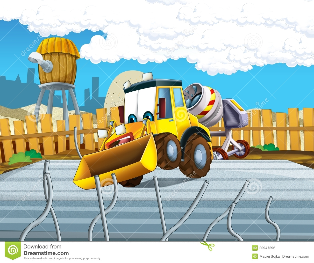 The Cartoon Digger - Illustration For The Children Stock ...