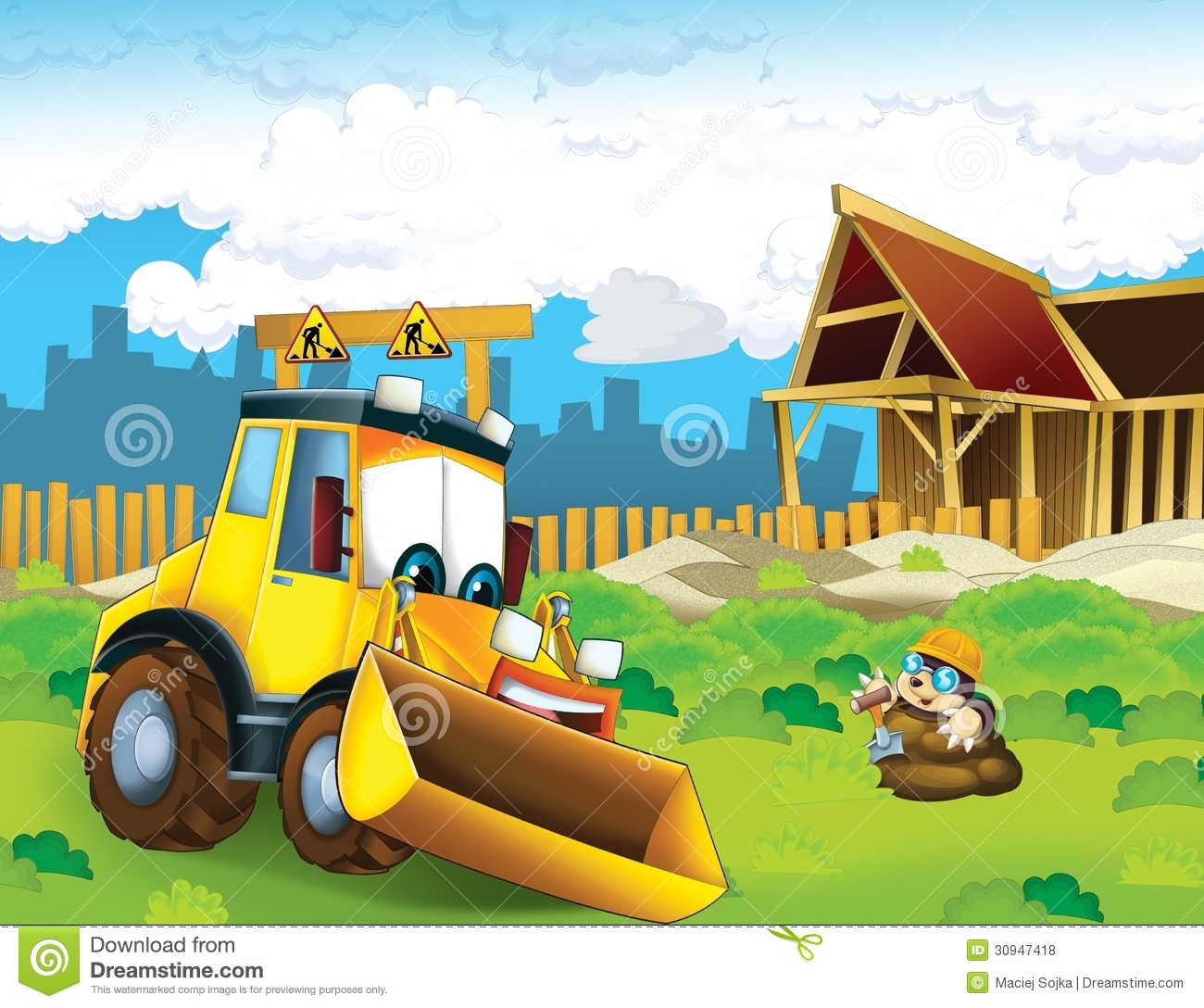 The Cartoon Digger Illustration For The Children Royalty
