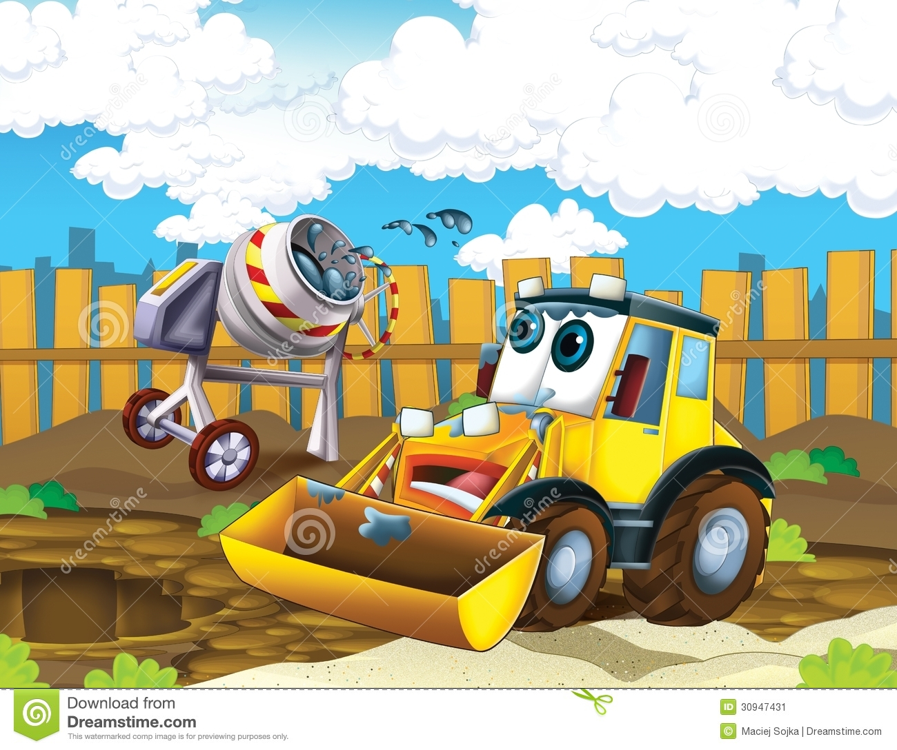 The Cartoon Digger Illustration For Children Stock Image