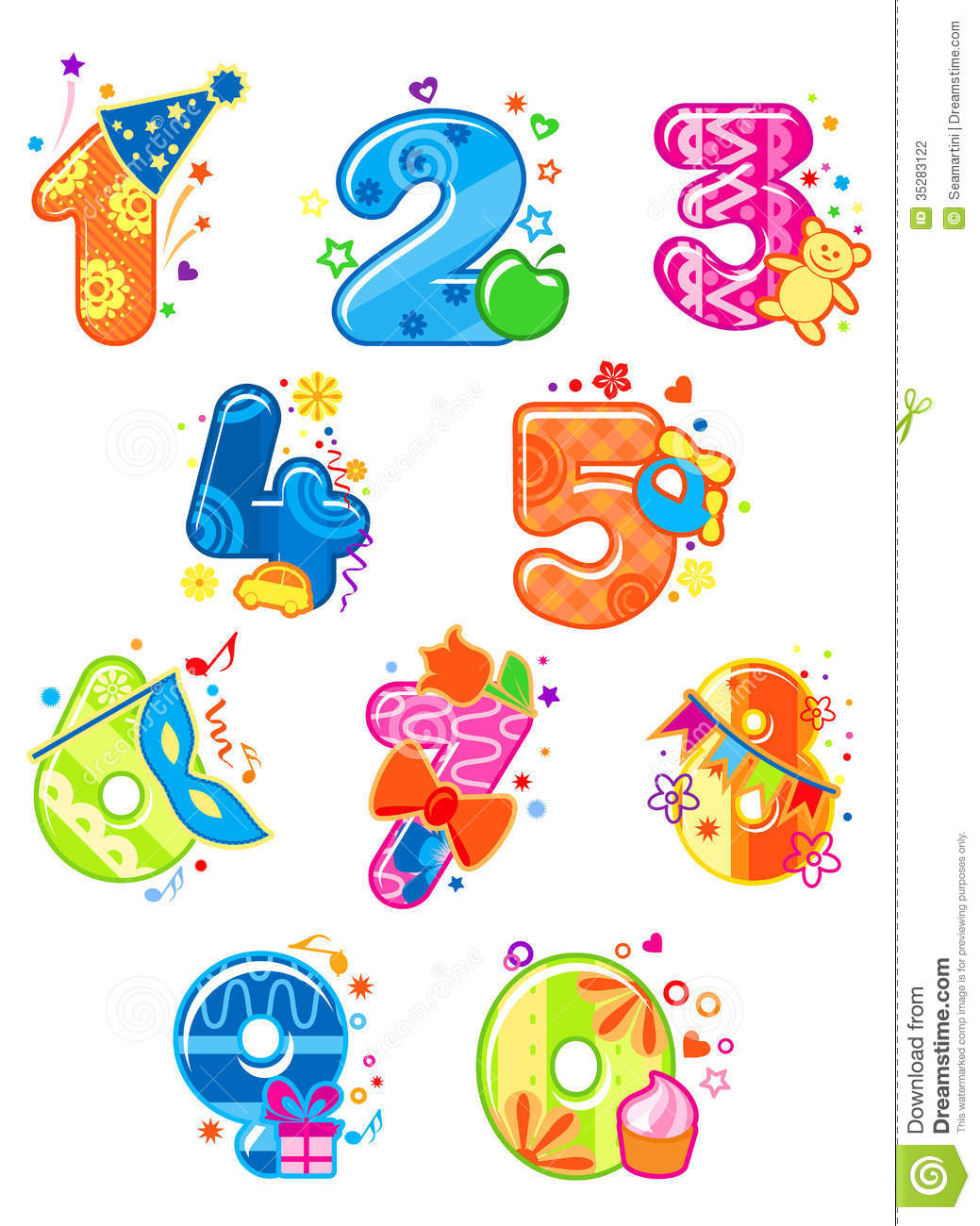 Cartoon digits and numbers stock vector illustration of for Blueprint number