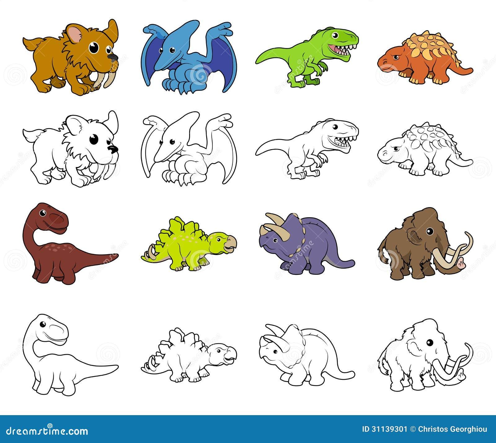 Cartoon Dinosaur Illustrations Stock Vector