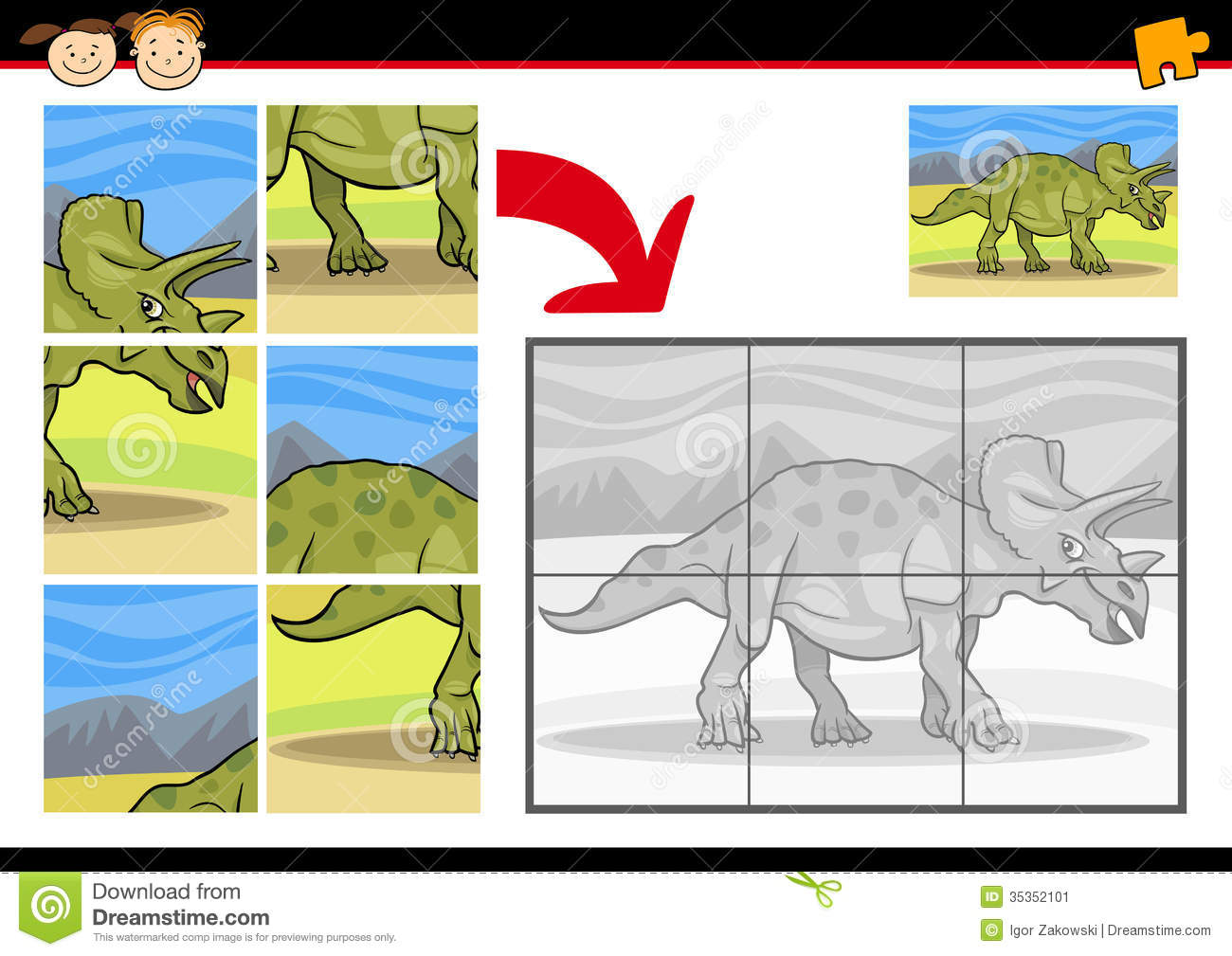 Cartoon Dinosaur Jigsaw Puzzle Game Stock Image Image 35352101