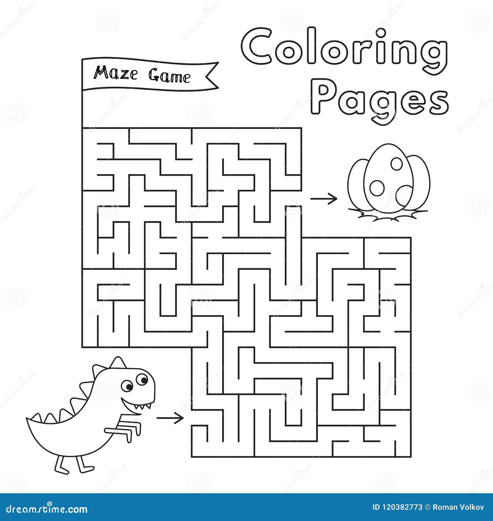 Cartoon Dinosaur Maze Game Stock Vector Illustration Of Drawing