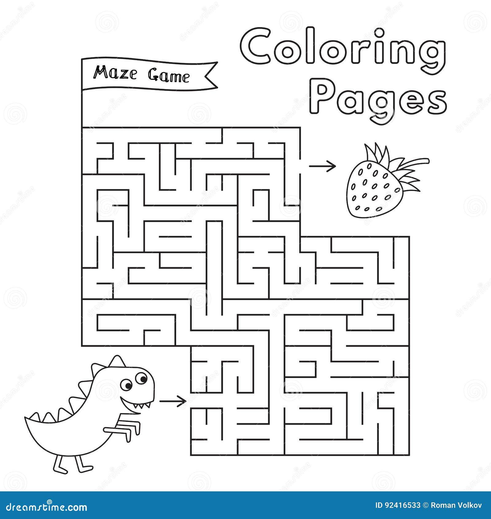 cartoon dinosaur maze game stock vector image 92416533
