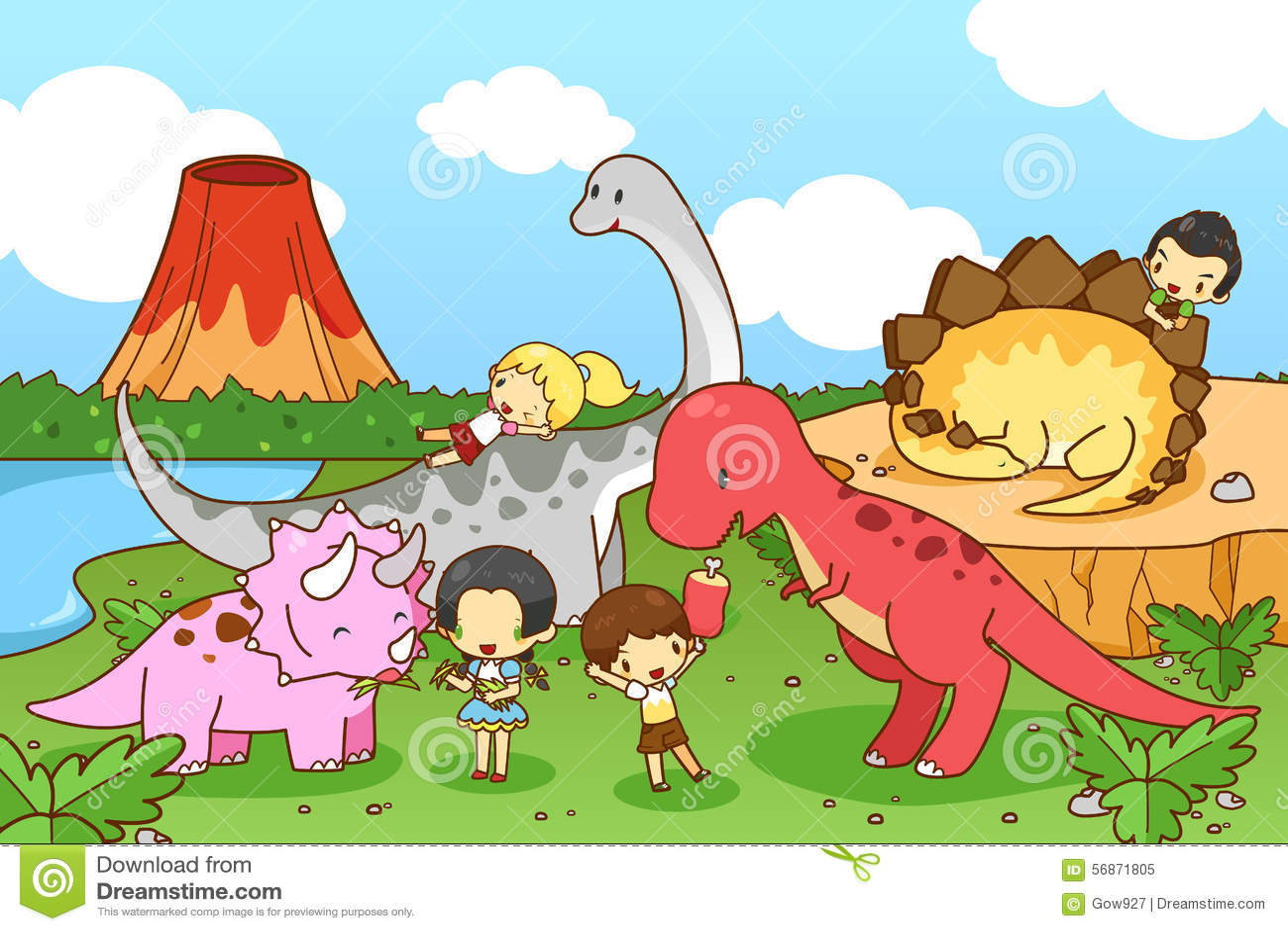 Cartoon Dinosaur World Of Imagination With Kids And Children Pla Stock