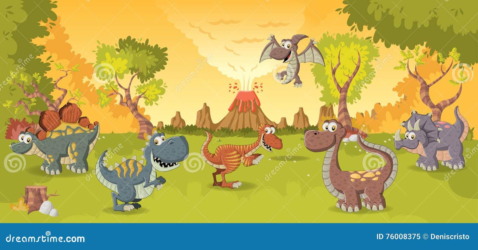 Cartoon Dinosaurs Stock Vector Illustration Of Environment