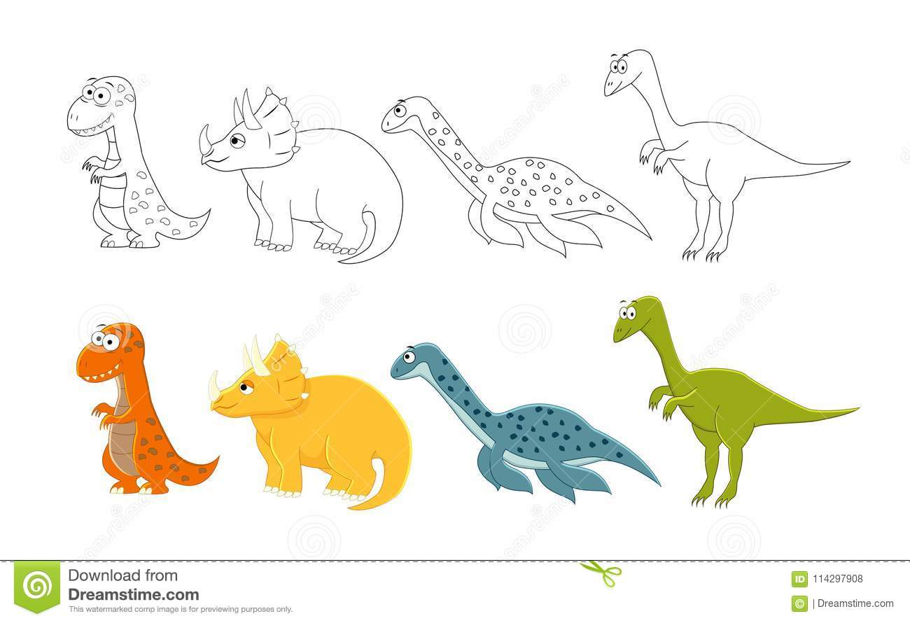 cartoon dinosaurs set coloring book pages kids vector ill cartoon dinosaurs set coloring book pages kids vector