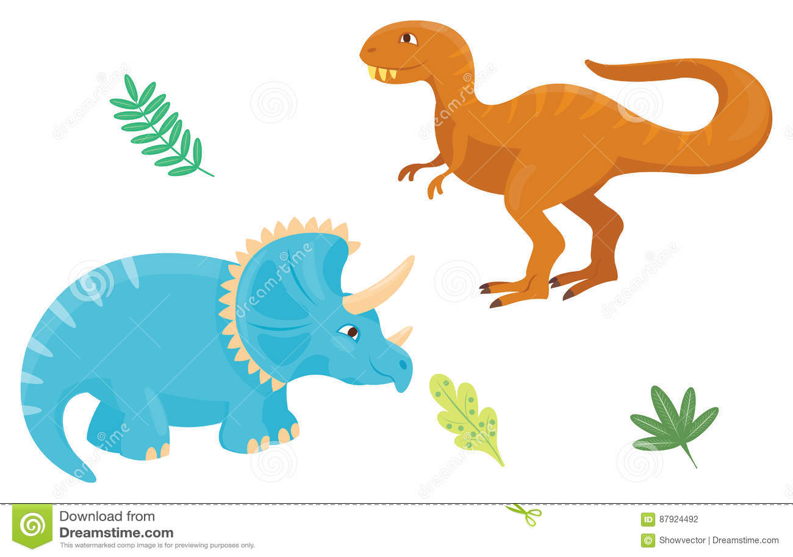 Cartoon Dinosaurs Vector Illustration Isolated Monster Animal Dino