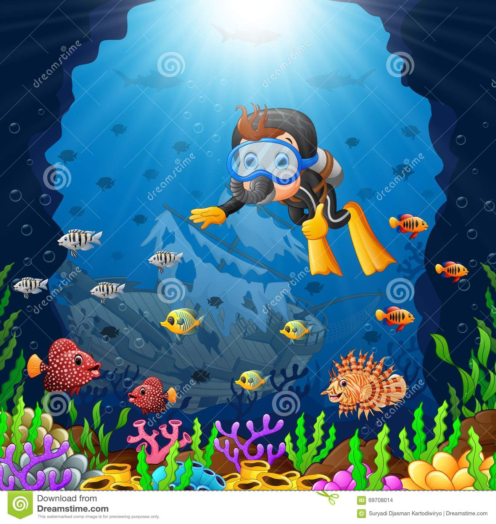 Stock Illustration Cartoon Diver Under Sea Illustration Image69708014