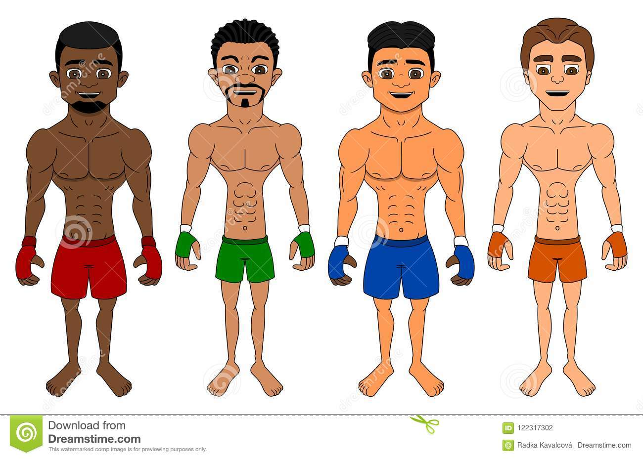 Cartoon of diverse flyweight MMA fighters