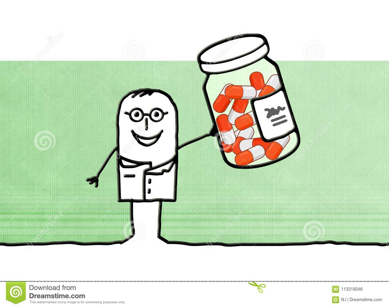 Cartoon Doctor With Bottle Medicine Capsules Stock Illustration