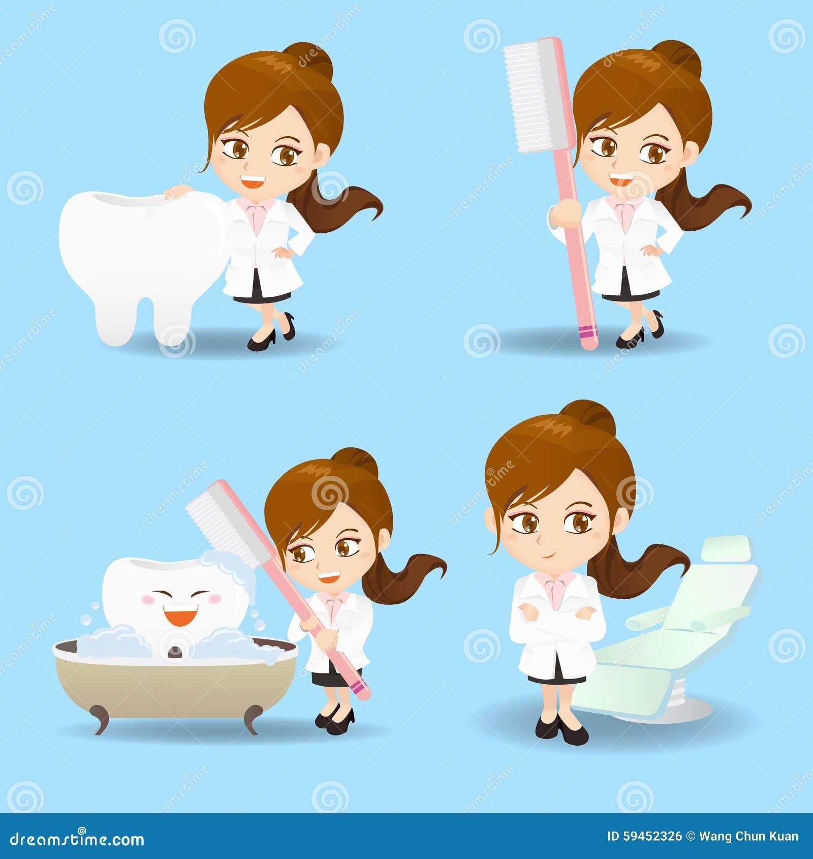 Cartoon Doctor Dentist Woman Stock Vector - Image: 59452326