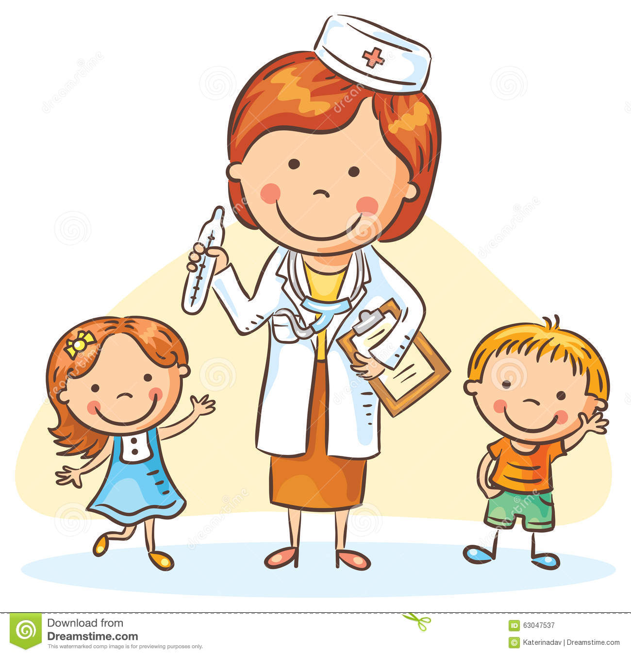 Cartoon Doctor With Happy Little Children Boy And Girl
