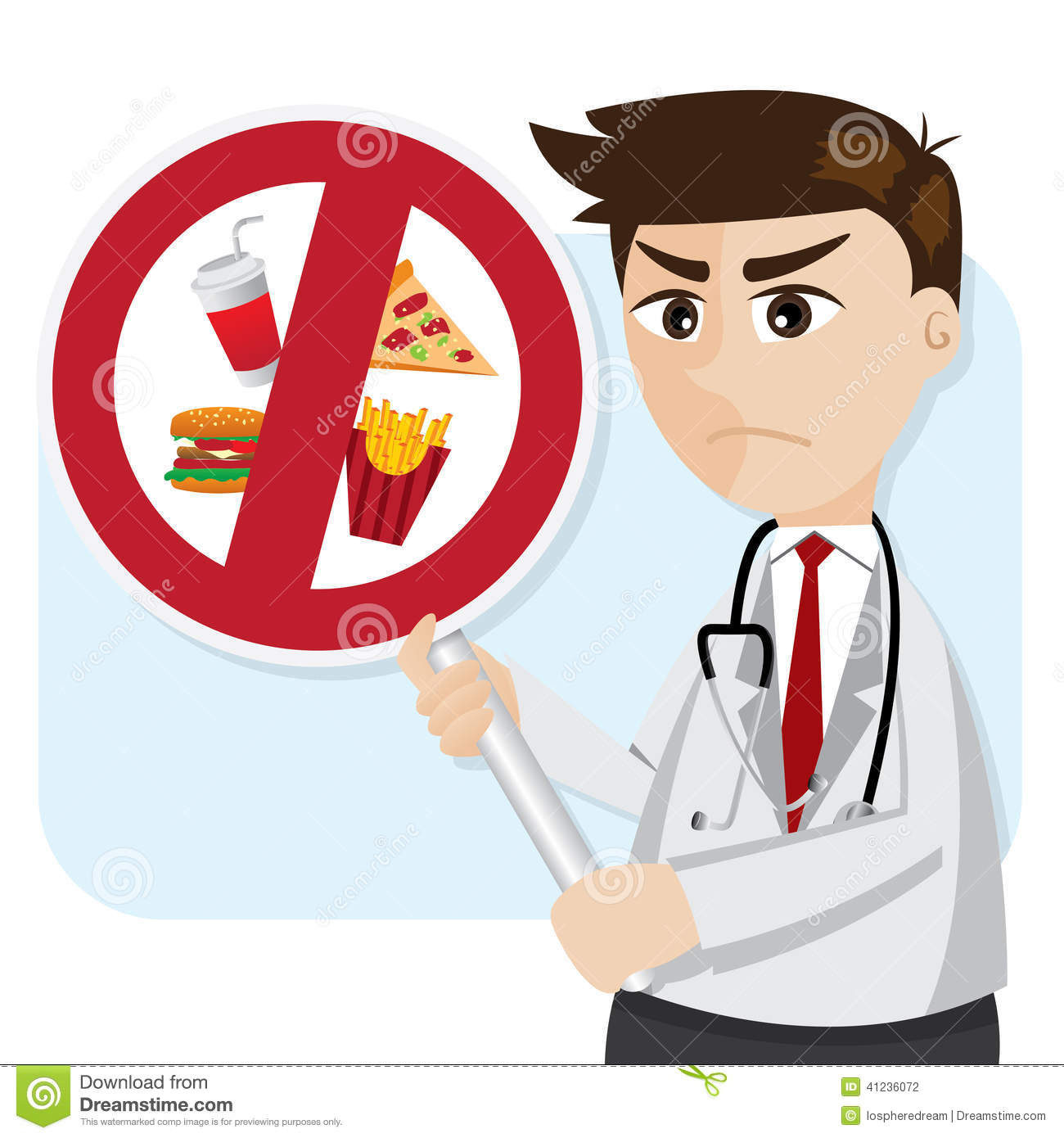 Cartoon Doctor With Junk Food Prohibit Signage Stock ...
