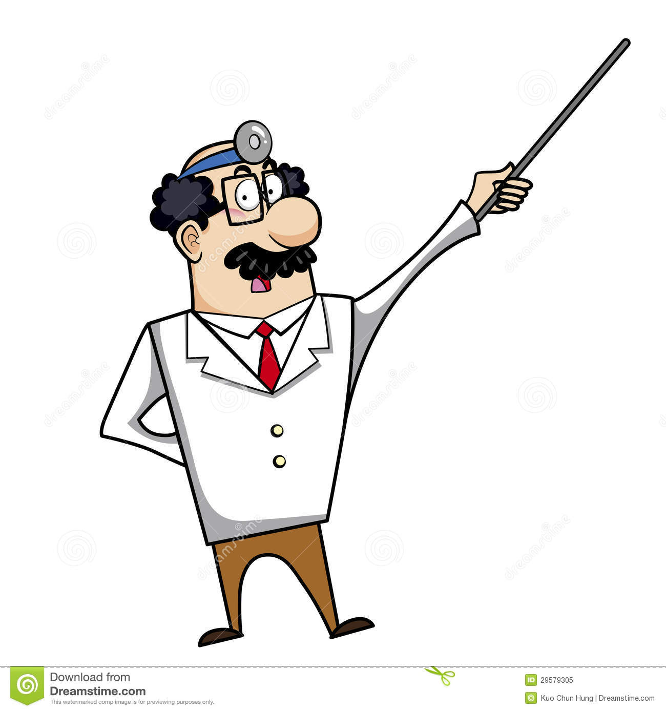 cartoon doctor with pointer royalty free stock photo