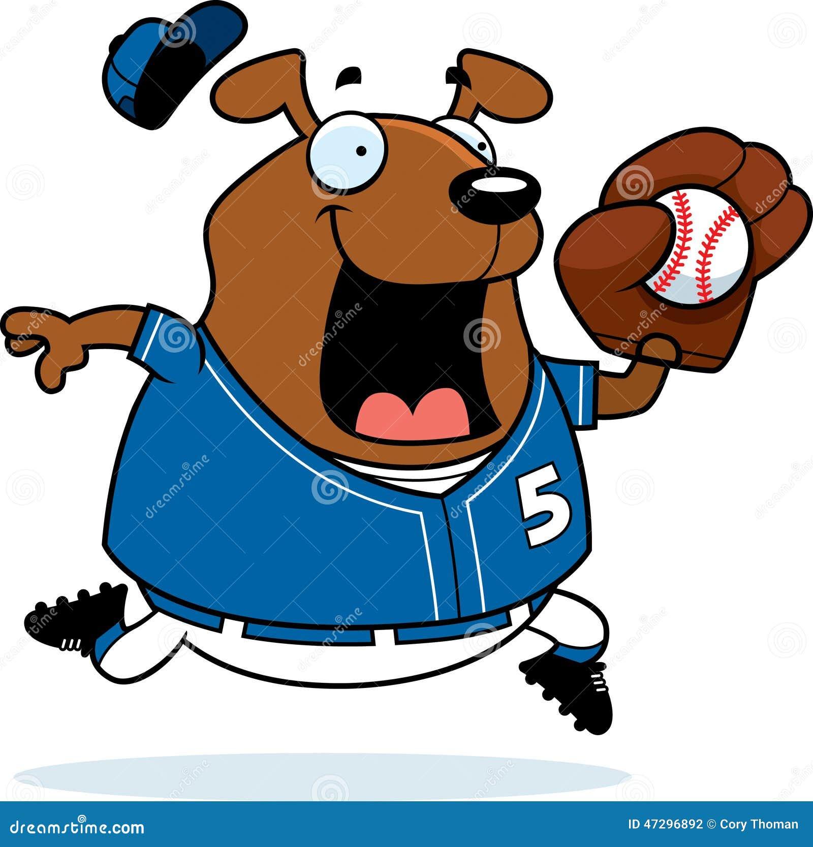 a cartoon illustration of a dog playing baseball