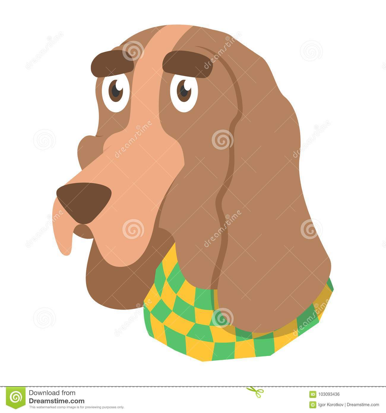 Cartoon Dog Basset Hound In Scarf Flat Dog With Big Eyebrows Stock