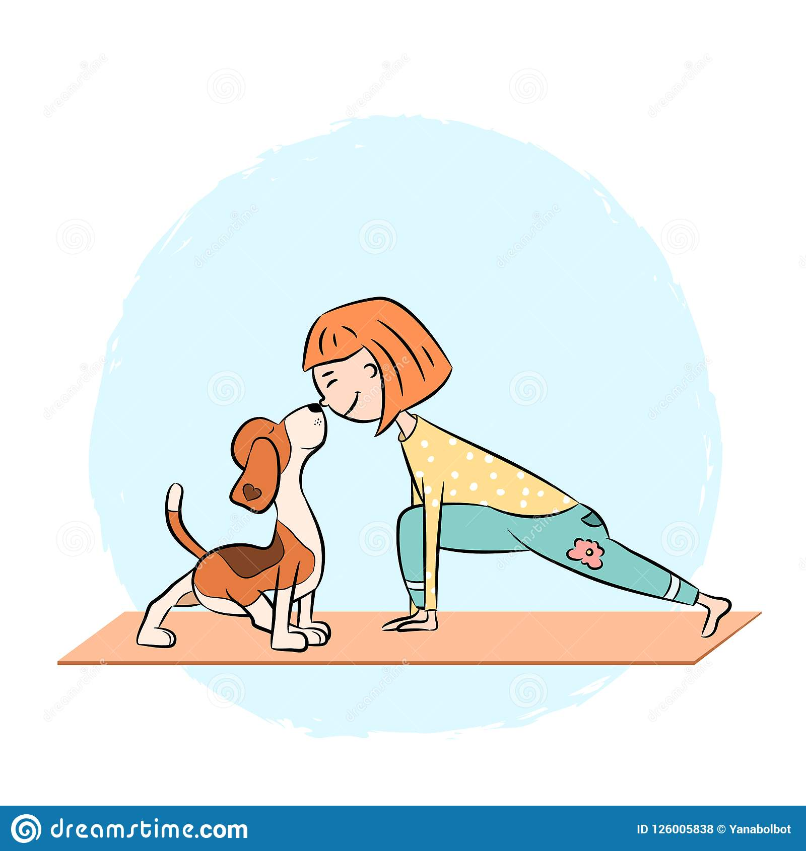 Cartoon Dog Beagle With Girl Doing Yoga Stock Vector Illustration Of Posing Body 126005838