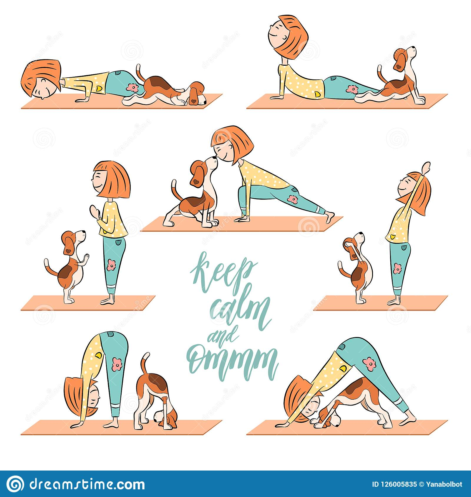 Cartoon Dog Beagle With Girl Doing Yoga Stock Vector Illustration Of Asana Icon 126005835