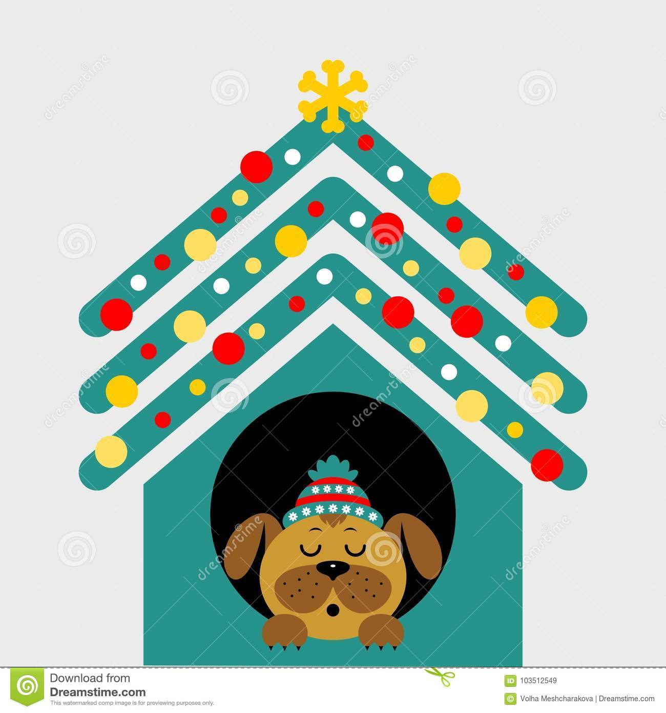 A Cartoon Dog In The Booth. Vector Illustration Stock Illustration ...