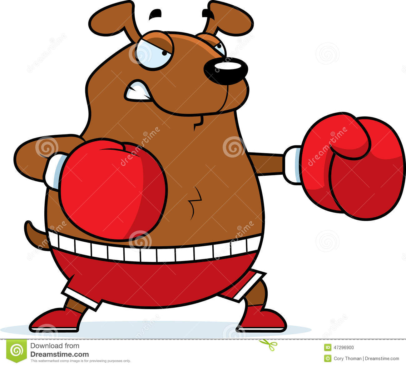 cartoon illustration of a dog punching with boxing gloves.