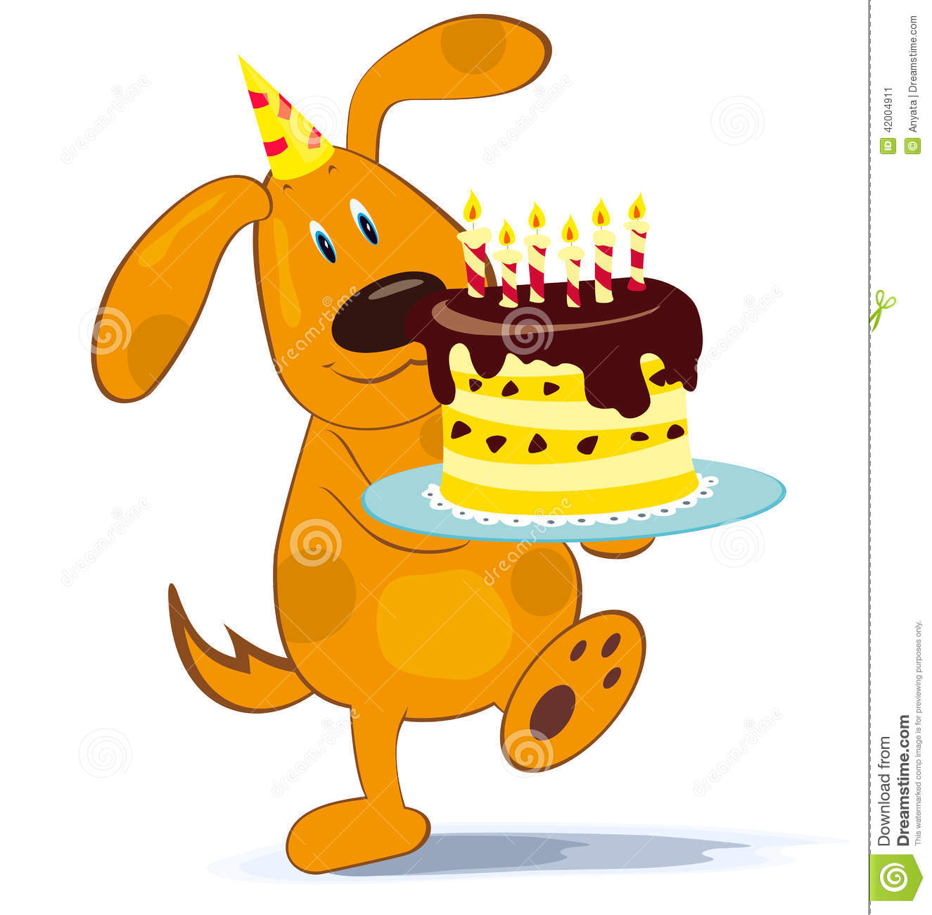 Cartoon Characters Birthdays : Cartoon dog with cake stock vector image of birth smile